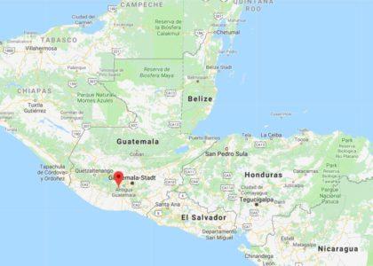Guatemala, lo stato dell'America centrale nel sud della penisola dello Yucatan.